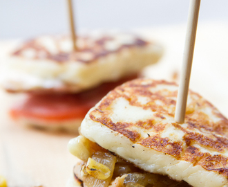 Inside Out Mini Grilled Cheese w/ BBQ Chicken, Bacon Fried Onions & Roasted Corn