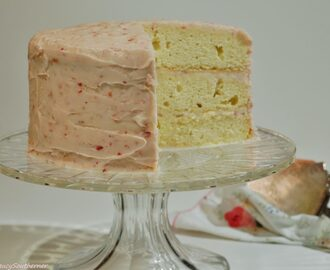 Lemon Cake with Strawberry Butter Cream Frosting