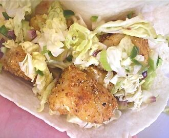 Fish Tacos with Spicy Olive and Green Apple Slaw