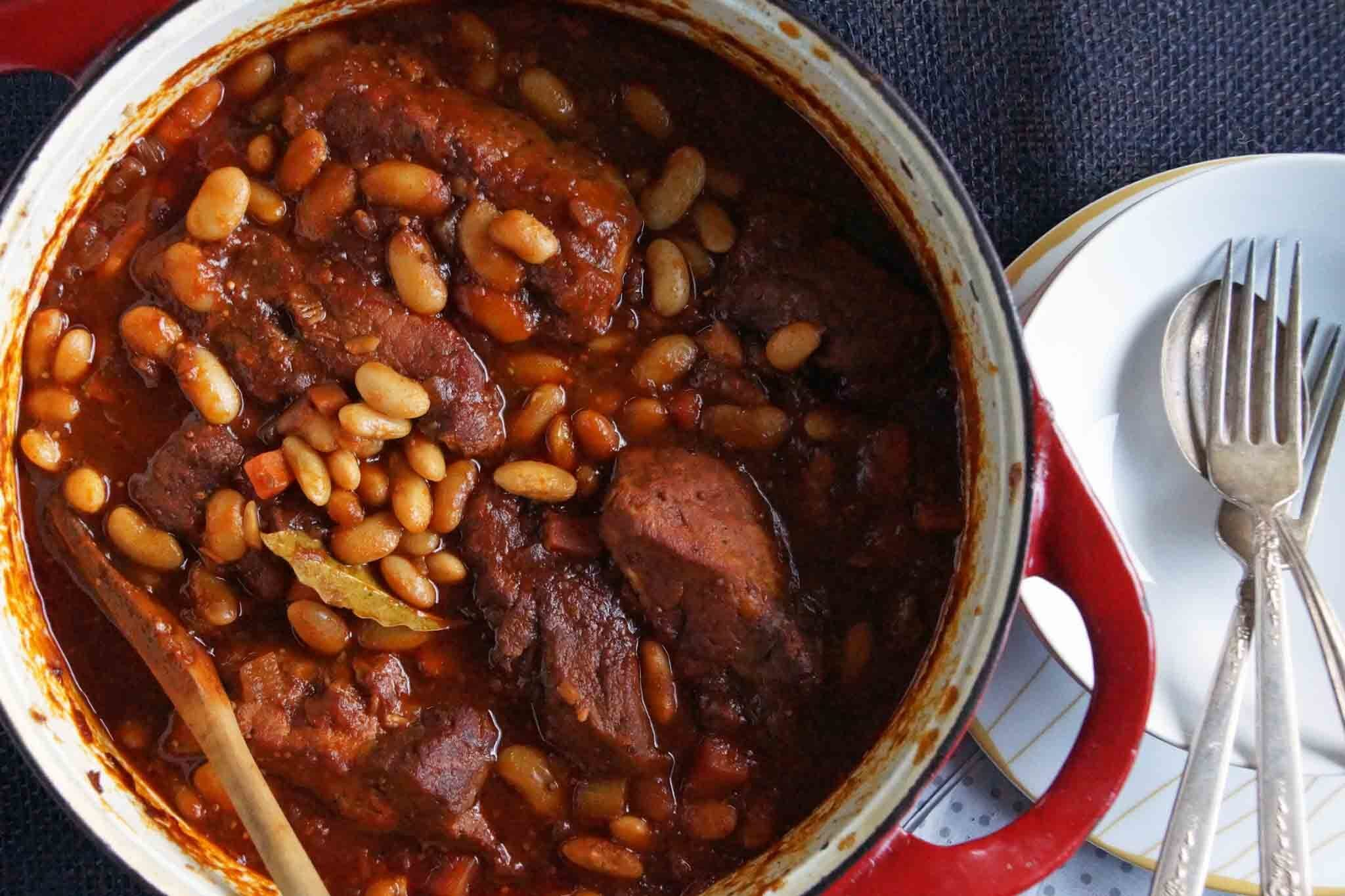 Cider Braised Country Style Pork Ribs & Cannellini Beans