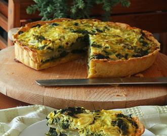Quiche con patate, porri e spinaci