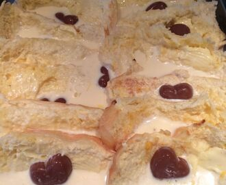 Brioche Bread and Butter Pudding with Chocolate Hearts