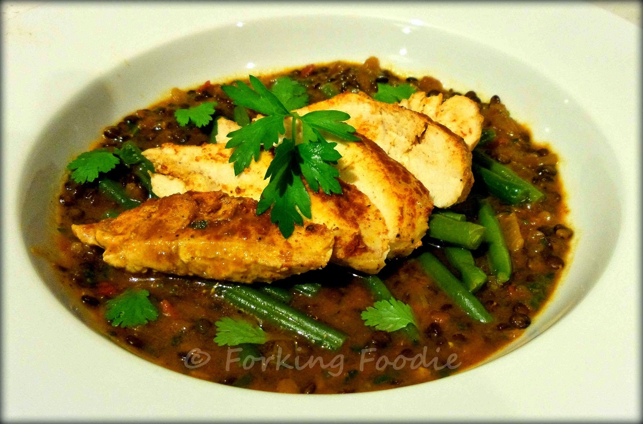 Harissa Chicken with Spiced Puy Lentil and Tomato Stew and Steamed Green Beans - All-in-one (universal) Thermomix Meal