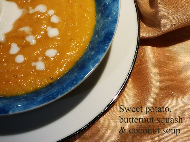 Sweet potato, butternut squash and coconut soup