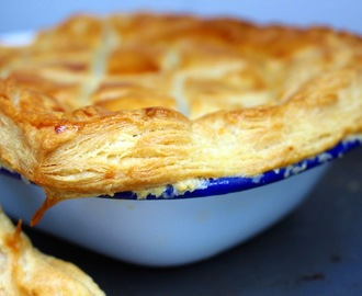 roast mushroom and caramelised onion pie with quick flaky pastry