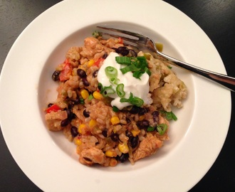 Healthy Southwest Chicken and Rice Bake