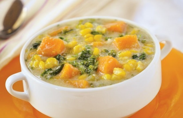 Holly Clegg's Chunky Corn Chowder with Kale and Sweet Potato