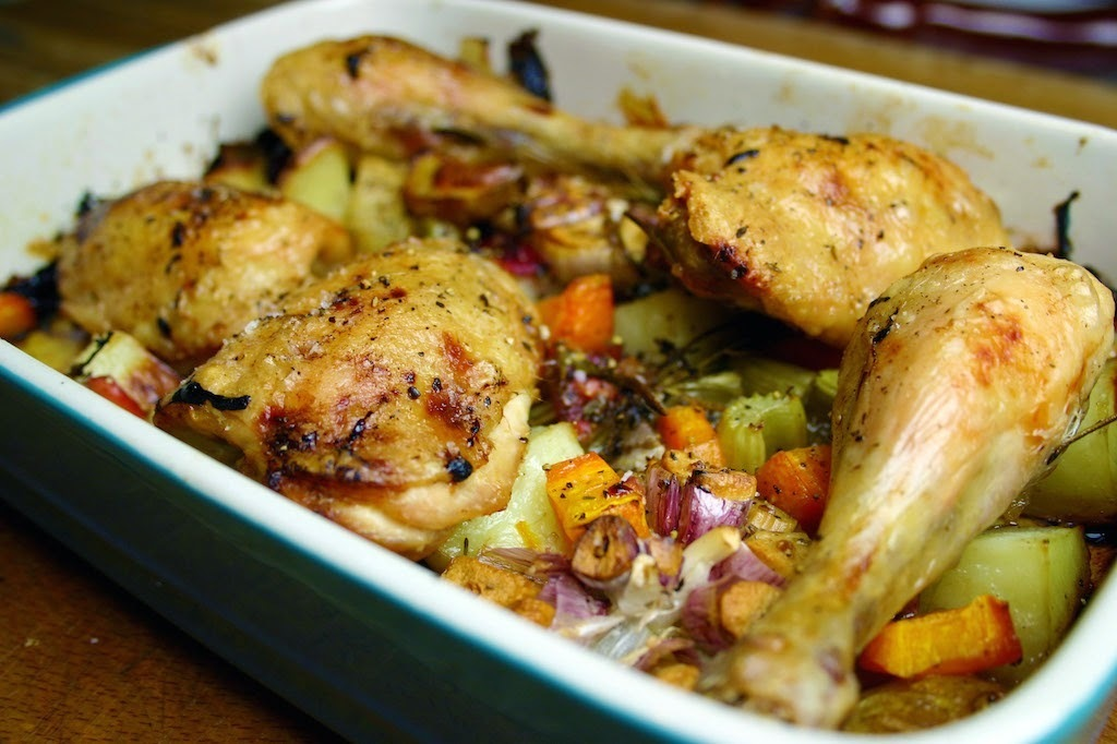 all in one - slow roast chicken thighs with plums, carrots, potatoes, garlic and celery