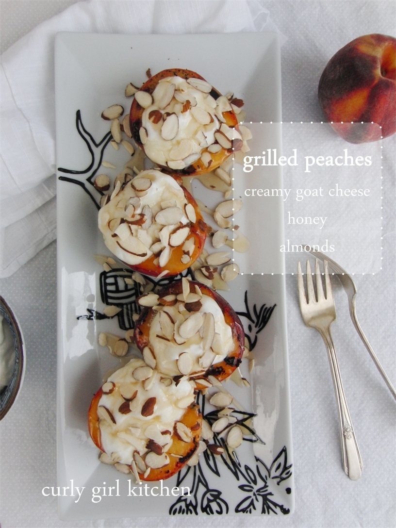 Grilled Peaches with fresh Goat Cheese, Honey and Almonds