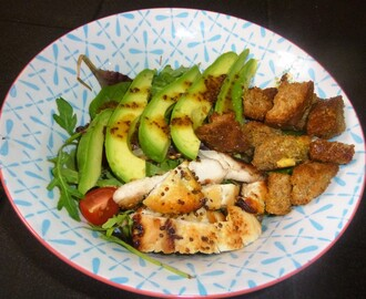 Honey and Mustard Chicken and Avocado Salad with Rosemary and Parmesan Crouton's Recipe