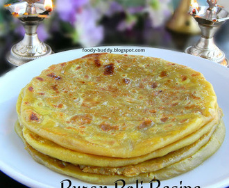 Puran Poli | Paruppu Poli Recipe | Obbatu - Indian Festival Recipe