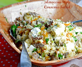 Moroccan Style Couscous Lamb Salad with Dried Apricots, Feta Cheese & Coriander
