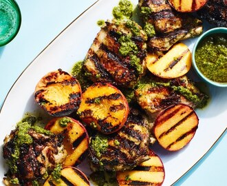 3-Ingredient Pesto-Grilled Chicken with Peaches
