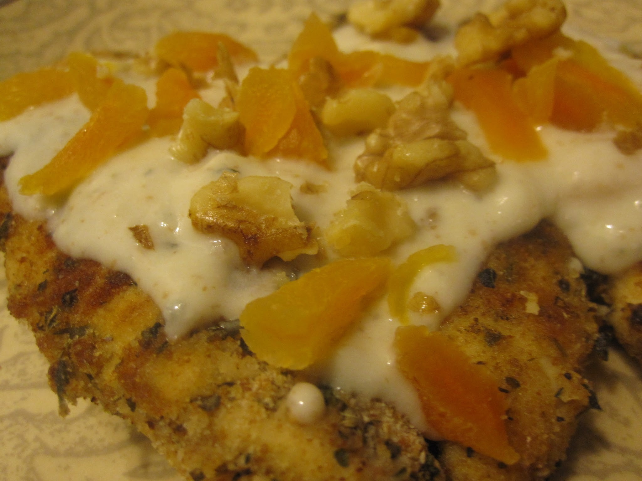 Chicken with Blue Cheese and Apricot Sauce and Spiced Walnuts