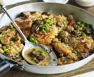 One pot chicken, mushrooms & peas