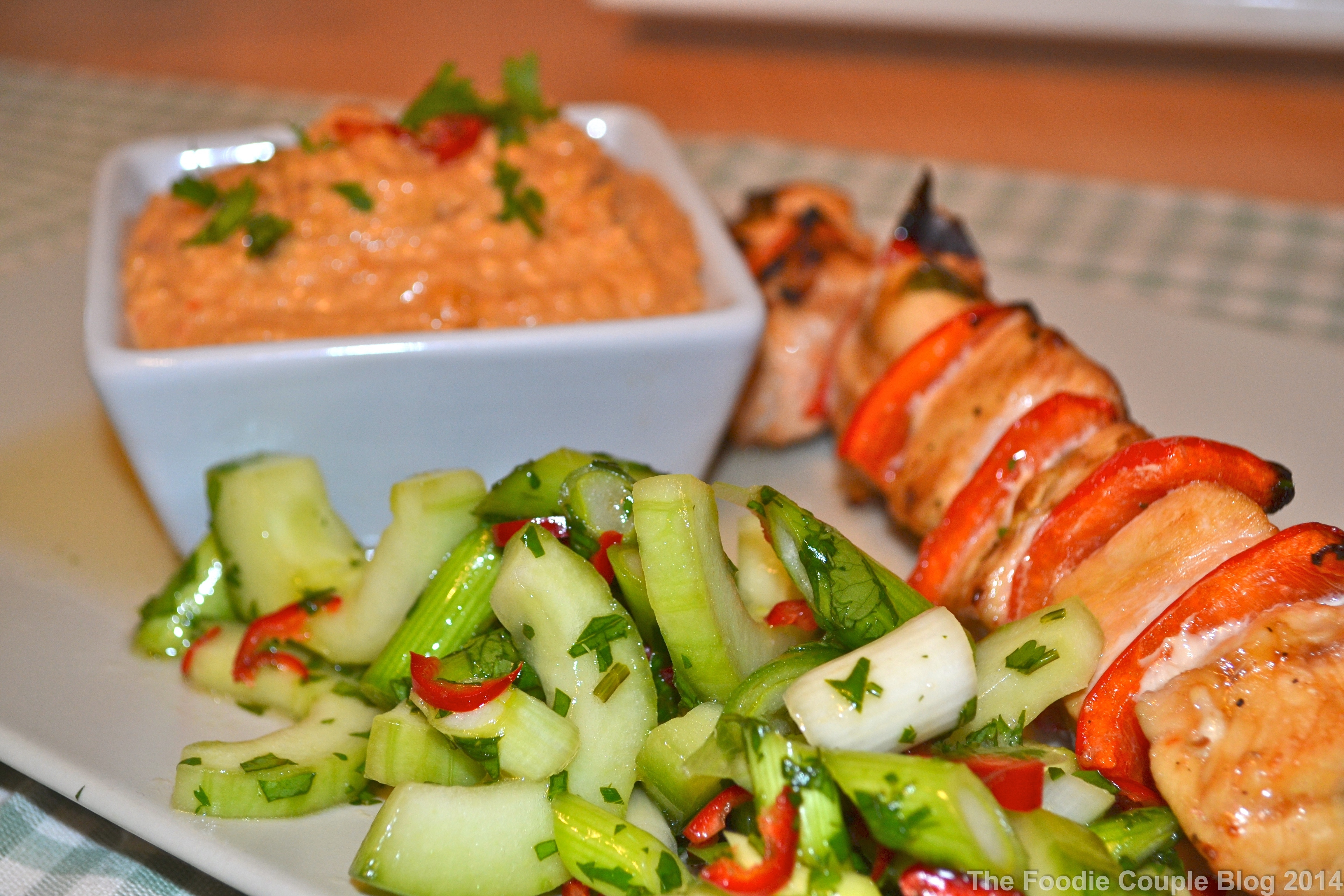 Chicken Satay Skewer with a Spicy Cucumber Salad