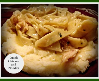 Chicken and Noodles over Mashed Potatoes