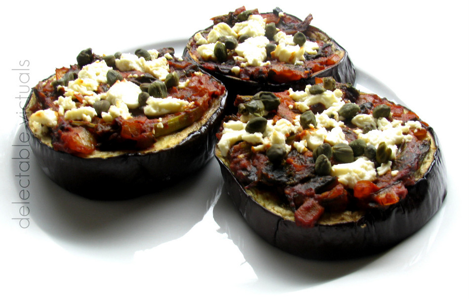 Baked Eggplant Slices with Mustard Greens Sauce