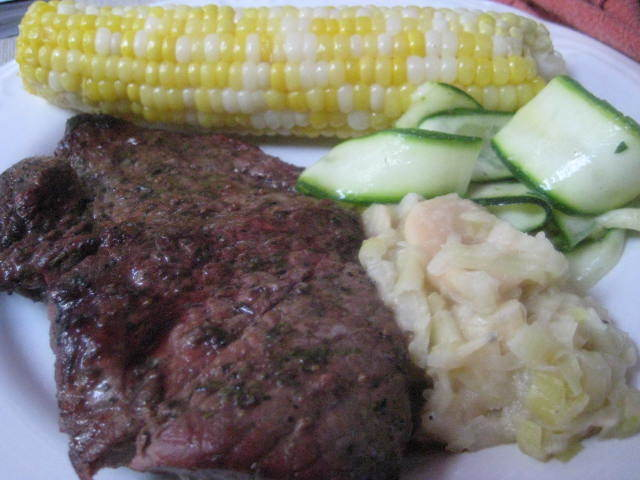 Grilled Steaks, Corn, Butter Beans and Zucchini Salad