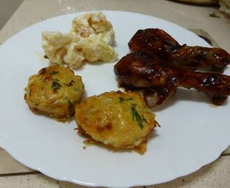 BBQ Chicken Drumsticks with Potato Cakes
