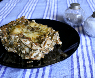 Vegetarisk lasagne med spenat och cottage cheese