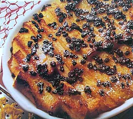 Baked bread with butter pudding recipe