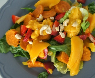 Mango, strawberry and sweet potato salad with a 'honey' mustard dressing
