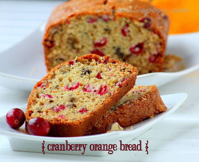 Cranberry Orange Bread with Lemon Glaze
