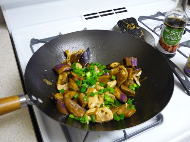 Stir-fried chicken and eggplant with black bean sauce
