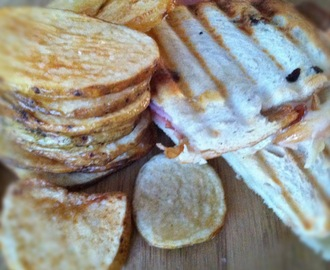 Smokey Ham and Swiss Panini with Homemade Baked Chips
