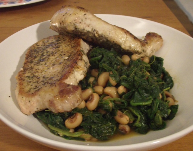 Pan Seared Pork Chops with Spinach and Black Eyed Peas