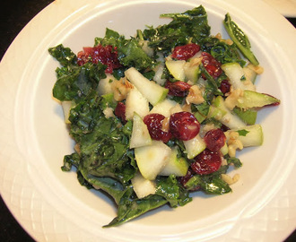 Ginger Honey Kale Salad with pears, cranberries & walnuts, gluten free