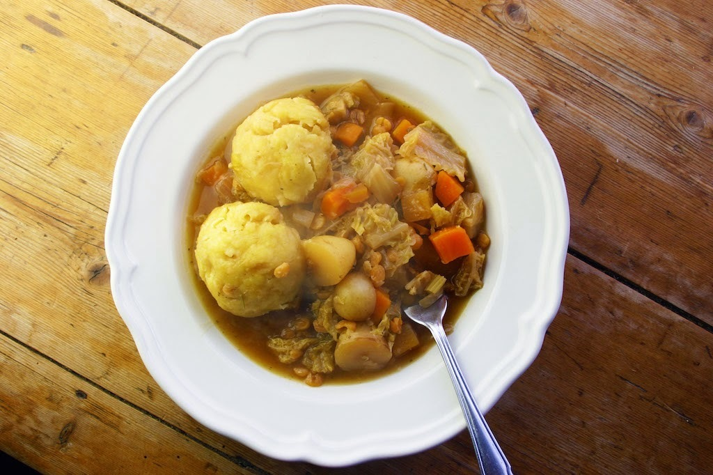 slow-cooked vegetable and lentil stew with polenta dumplings in my new Crock-Pot! - plus a Crock-Pot giveaway