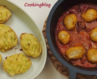 Carne guisada com bolinhos de mostarda e batata assada | Beef stew with mustard dumplings and baked potatoes