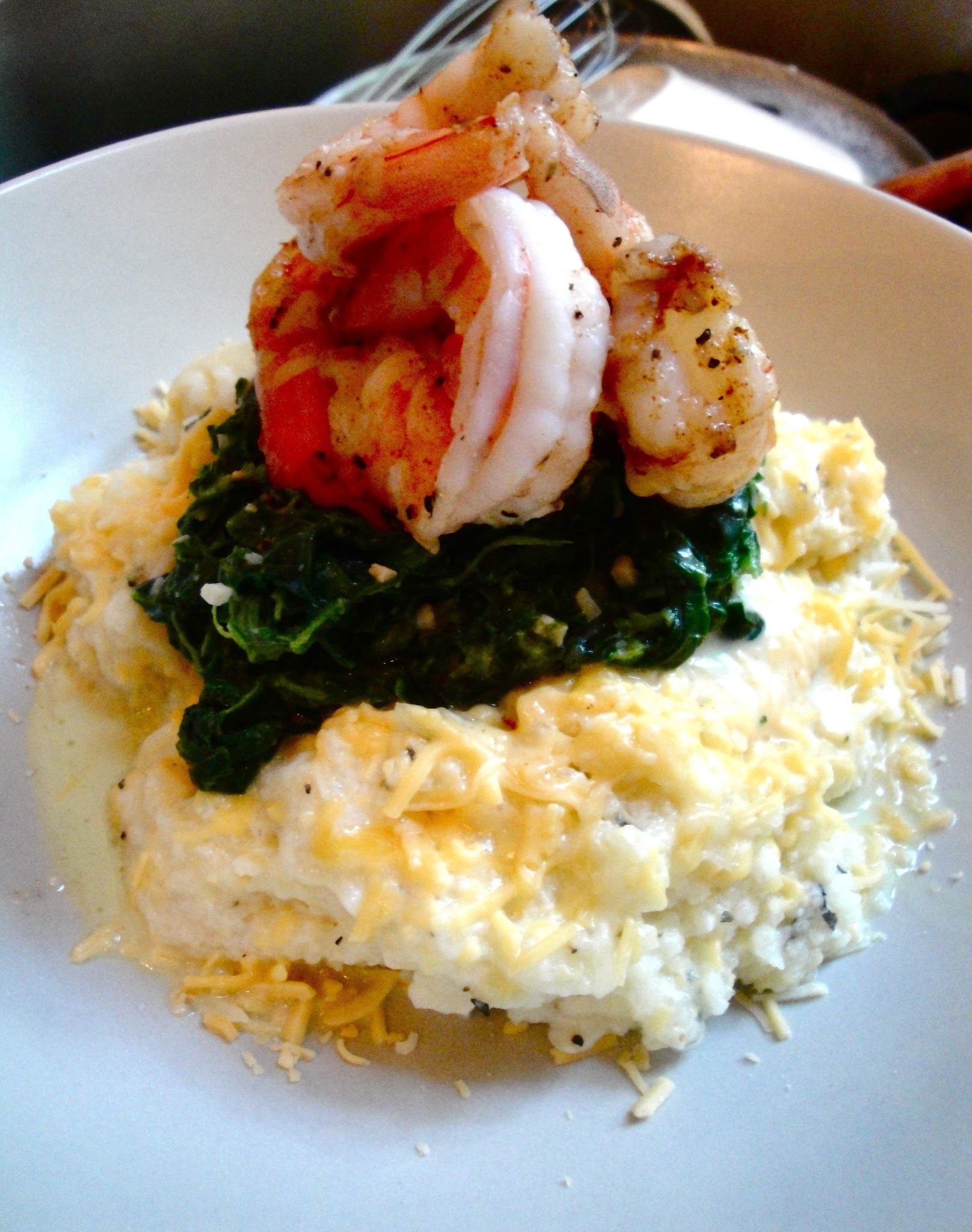 Sweet Home Cheesy Grits with Sauteed Spinach and Cajun Shrimp