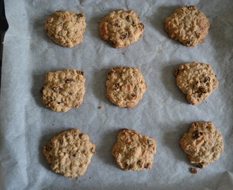 Glutenvrije chocolate chip oatmeal cookies (GF-eggfree-easily made vegan)