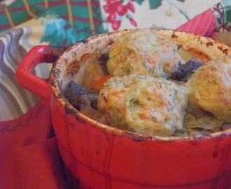 homemade beef stew and cheesy herb dumplings: community cooks with central england co op.