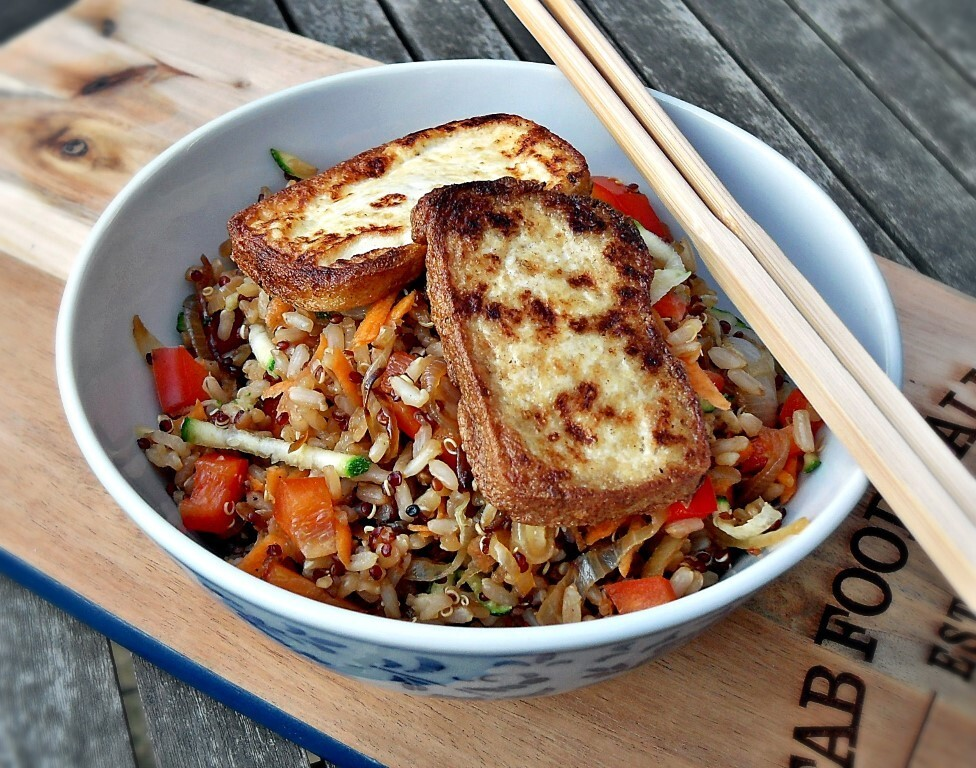 Warm Rice & Quinoa Salad with Pan Fried Tofu