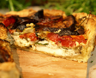 Aubergine, courgette and tomato tart with goat's cheese