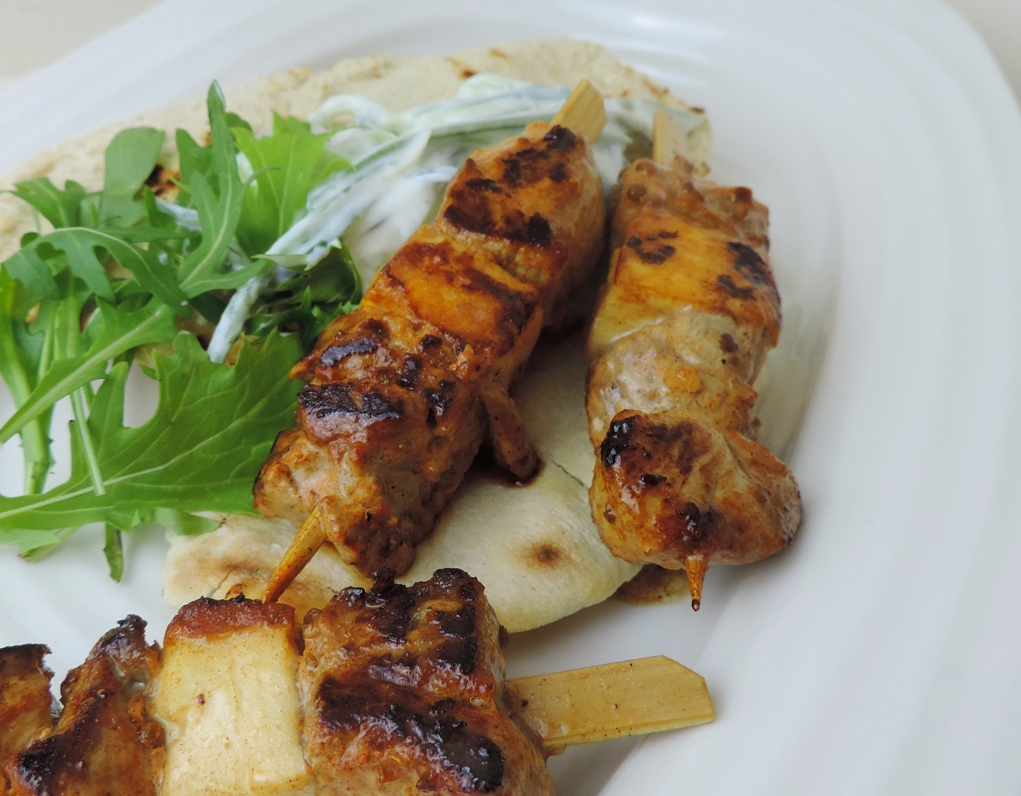 Lamb and Halloumi Kebabs served with shredded Tzatziki