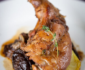 Braised Rabbit with red wine, prunes and thyme
