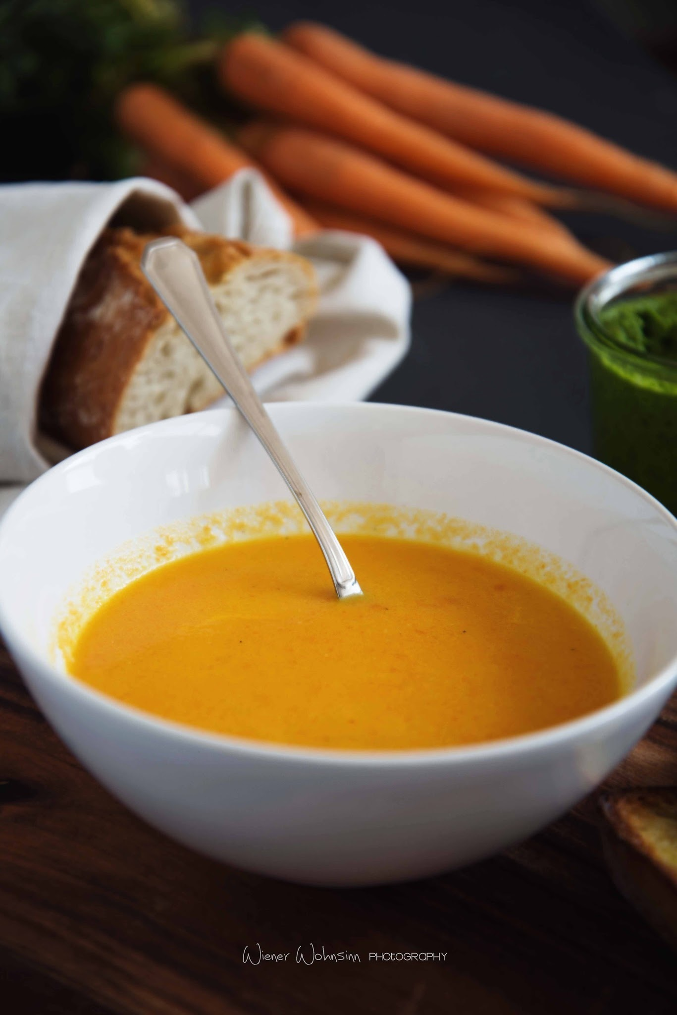 { easter brunch recipe } spinach pesto and carrot soup