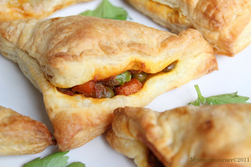 Vegetable puffs( Indian style curried vegetable in puff pastry).
