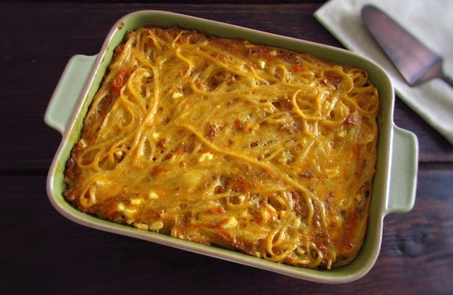 Pasta with minced meat and egg in the oven | Food From Portugal