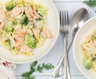 Pasta met broccoli en zalm in dille-roomsaus