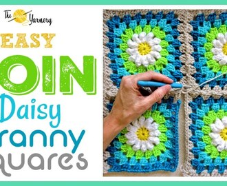 CROCHET How to Join Your Daisy Granny Squares:  Easy Join As You Go Method