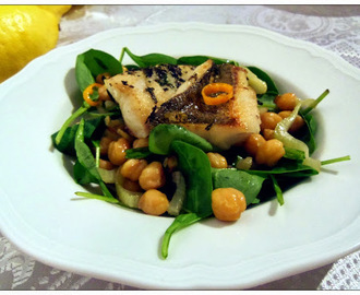Fried Perch Fillet With Chickpeas And Spinach