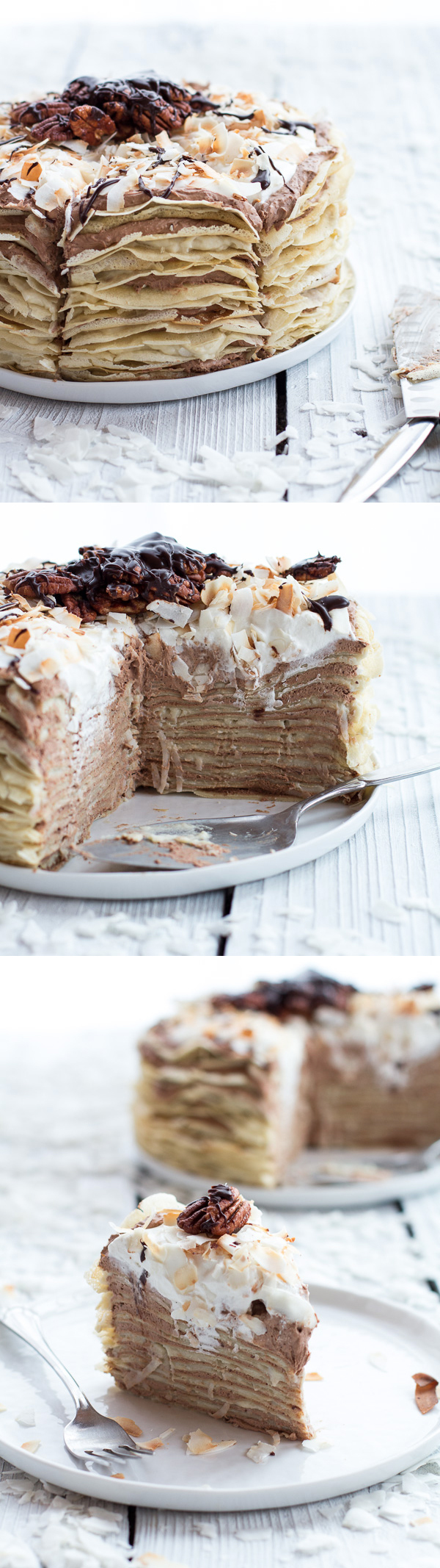 Coconut Cream Crepe Cake with Chocolate Mousse and Rum!