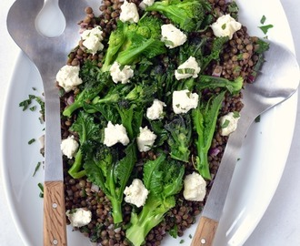 Purple Sprouting Broccoli & Puy Lentil Salad with Almond Feta & Mint