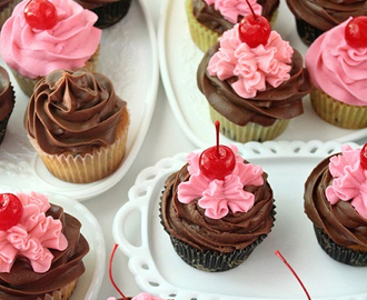 Cherry Cupcakes with Chocolate Chips and Buttercream Frosting